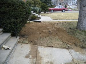 A lawn after residential oil tank removal