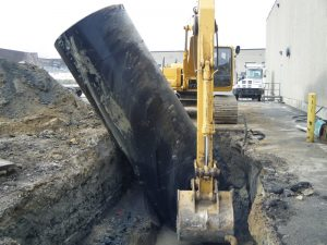 Commercial Oil Tank being removed by Waterline Environmental
