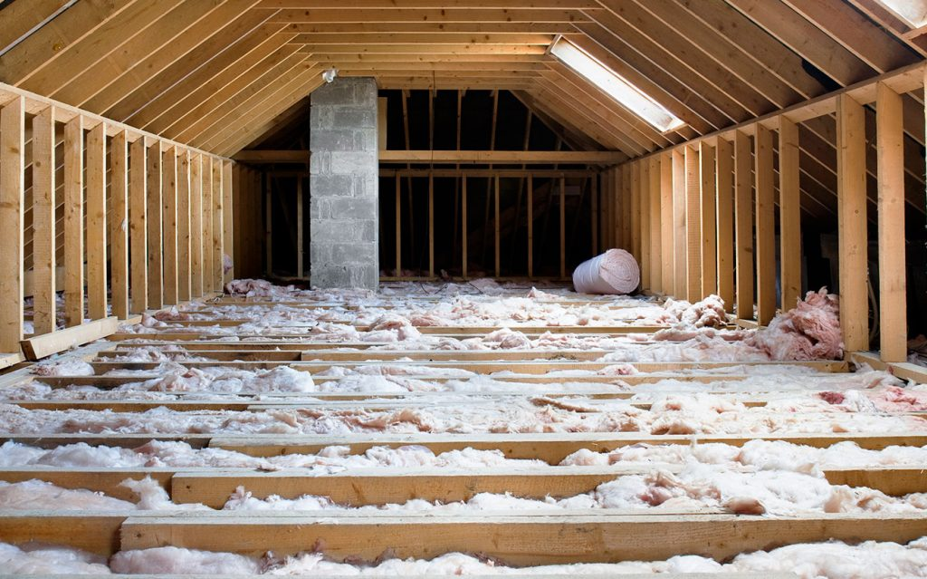 Inside an attic, showing roof insulation