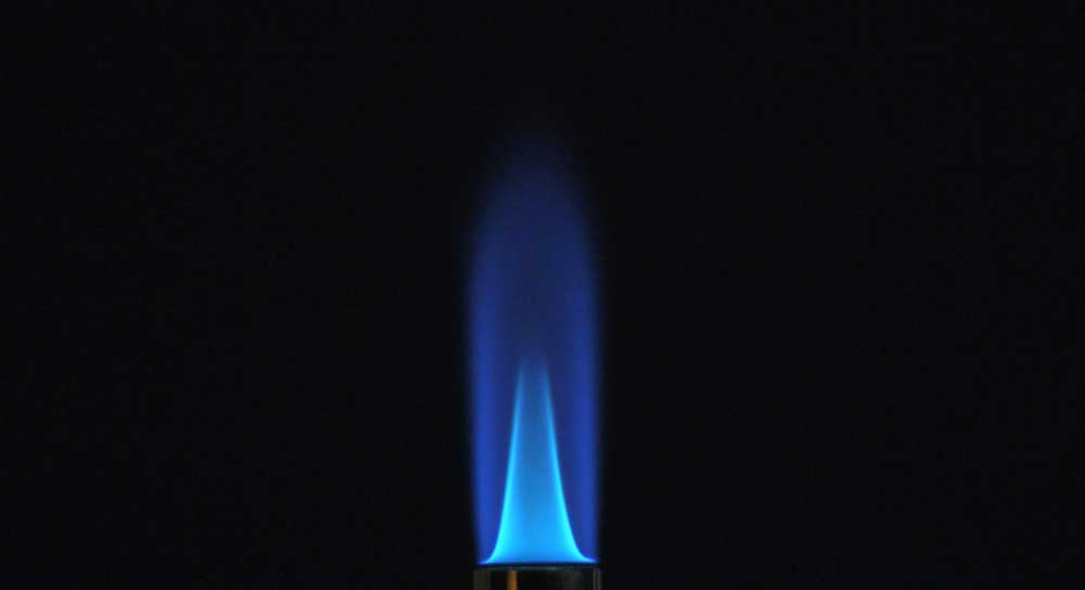 blue flame with black backdrop